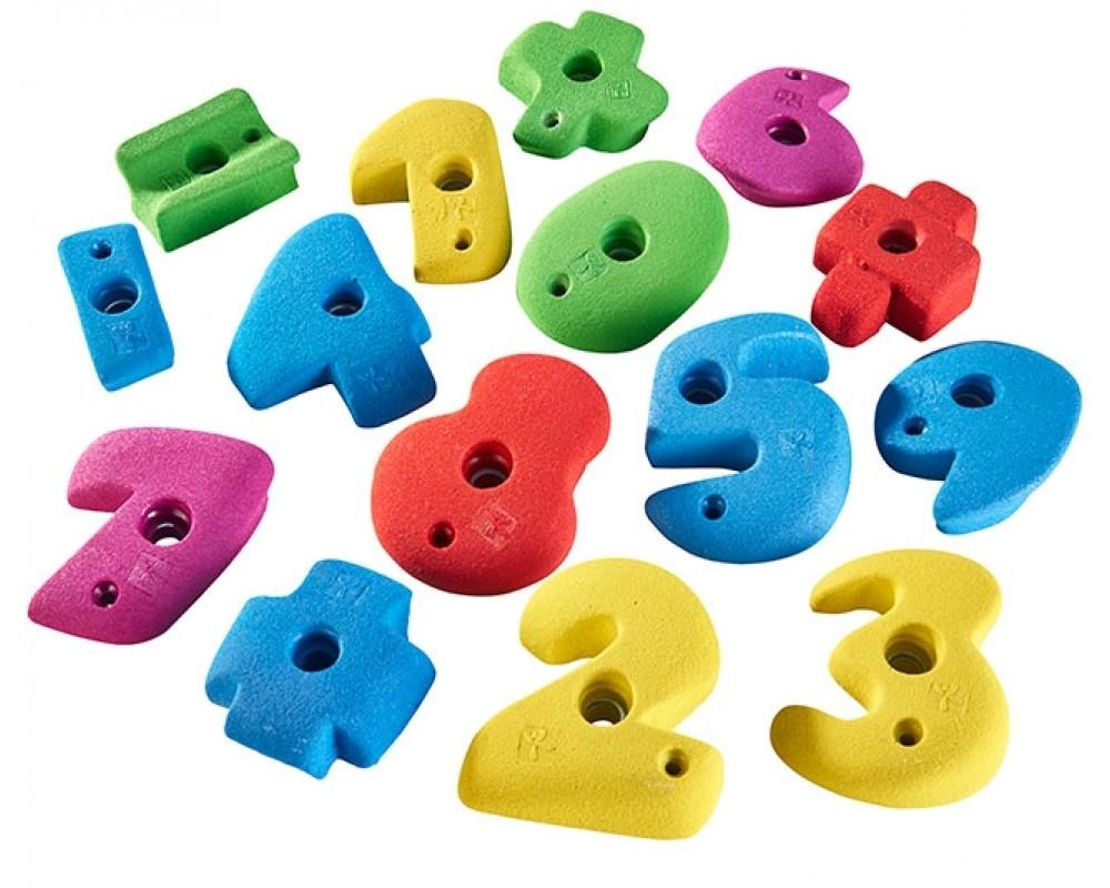 klatrevæg til børn med tal-klatregreb