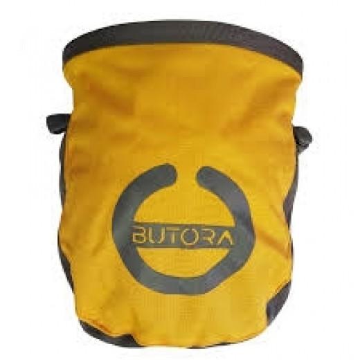 Gul kalkpose fra Butora med logo/symbol