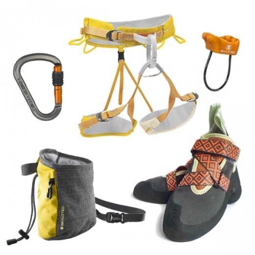 Variert klatrepakke med alt du trenger som ny kvinnelig klatrer