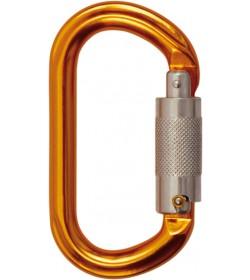 Oval aluminiumskarabin. Karabinhage med trilock lukkesystem