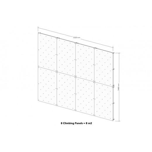 8 kvadratmeter klatrevæg med klatregreb
